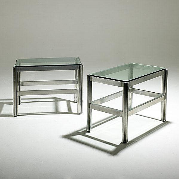 JENS RISOM; Pair of rare aluminum side tables with