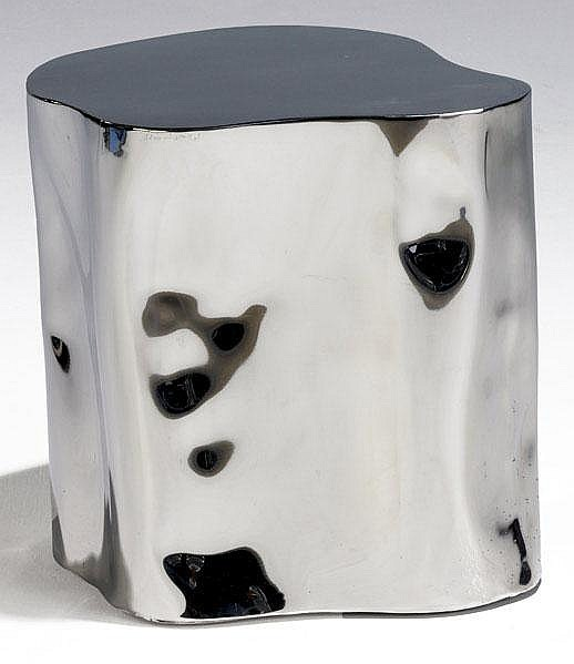 SILAS SEANDEL Tub side table in polished steel.