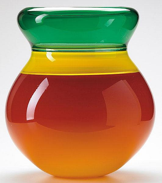 SONJA BLOMDAHL Blown glass vase with cupped rim in
