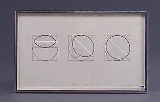 William Fares (Three works): Study-Circular Ruins, 1974, graphite and charcoal on paper collage,