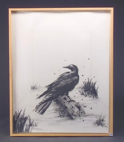 Jody Pinto (four works): The Crow, 1981, charcoal on paper, 28 3/4