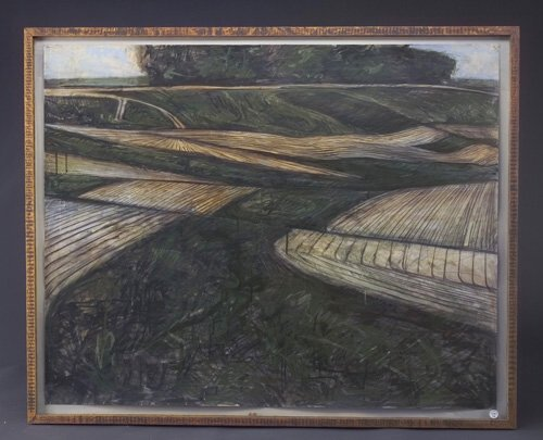 Michael Kessler (three works): Molison's Fields, 1981, acrylic and charcoal on paper, 33 1/2