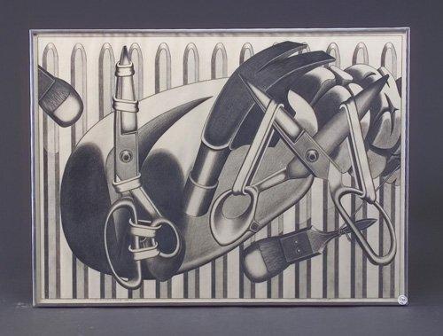Naoto Nakagawa (two works): Timepiece, 1970, graphite on paper, 21 5/8