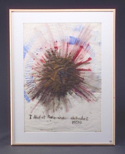Nancy Spero, I Died at Rodez Under Electroshock. Artoud, 1969, watercolor on paper, 27 1/4