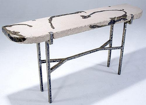 SILAS SEANDEL Terra console table with cast stone