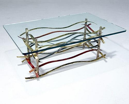 SILAS SEANDEL Ribbon coffee table with glass top