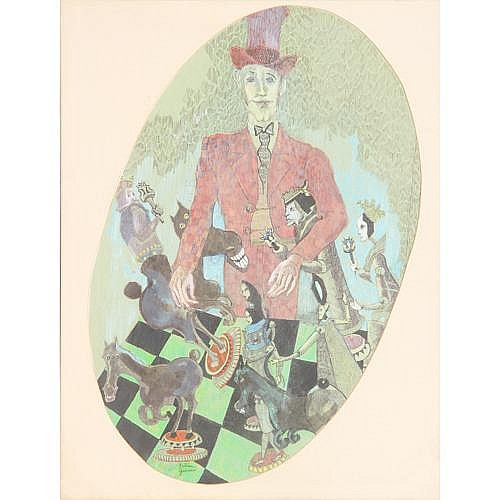 Two artworks: Bertram Goodman (1904-1988) mixed-media drawing on paper of a referee, signed lower center, 18