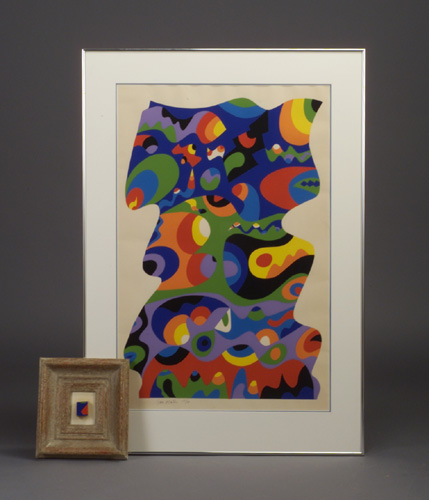 SAM MAITIN (American, b. 1928) serigraph, abstract puzzle-form composition in bold polychrome,