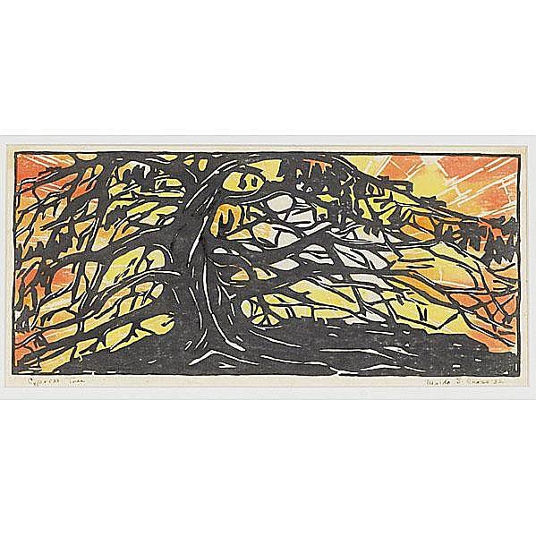 WALDO S. CHASE (American, 1895-1988) Cypress Tree,