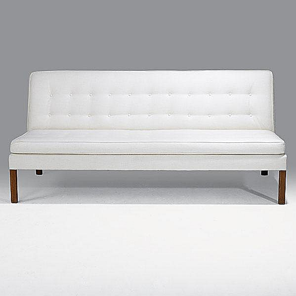 JENS RISOM; JENS RISOM DESIGN; Walnut and tufted