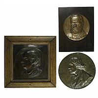 """Plaques & Medallions of Literary Figures Cartaino Sciarrino Paolo (American, b. 1882), John Burroughs, bronze, signed, 8"""" x 4"""""""