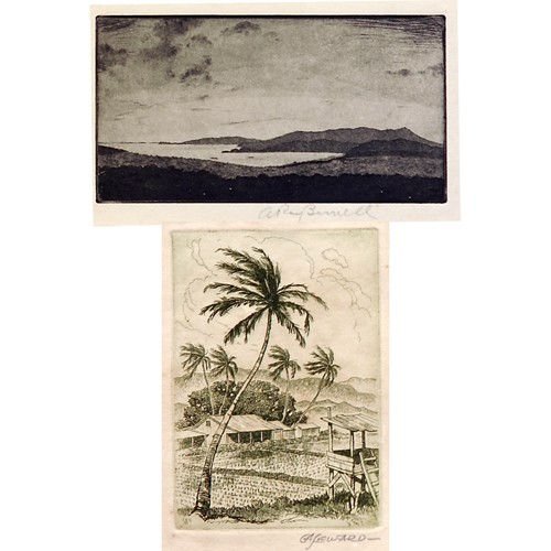 Five Hawaiian landscapes, small etchings: two by Ray Burnell (American 1877-1962), and three by Coy Avon Seward (American 1884-1939), one dated 1931;