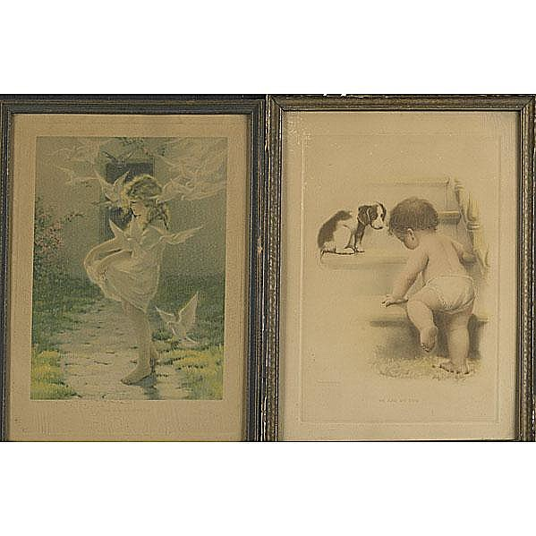 TWO LITHOGRAPHS Bessie Pease Gutmann (American,