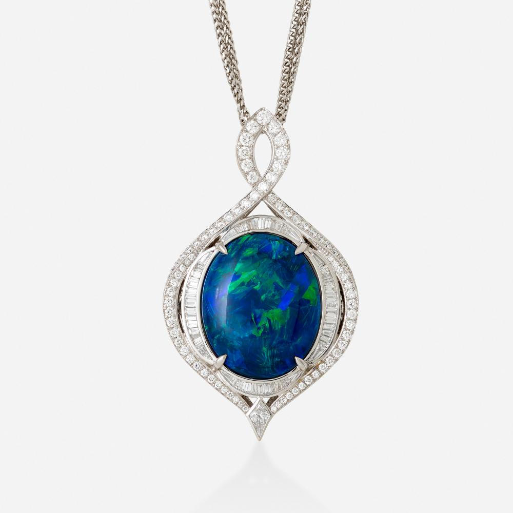 Kat Florence, Black opal and diamond necklace