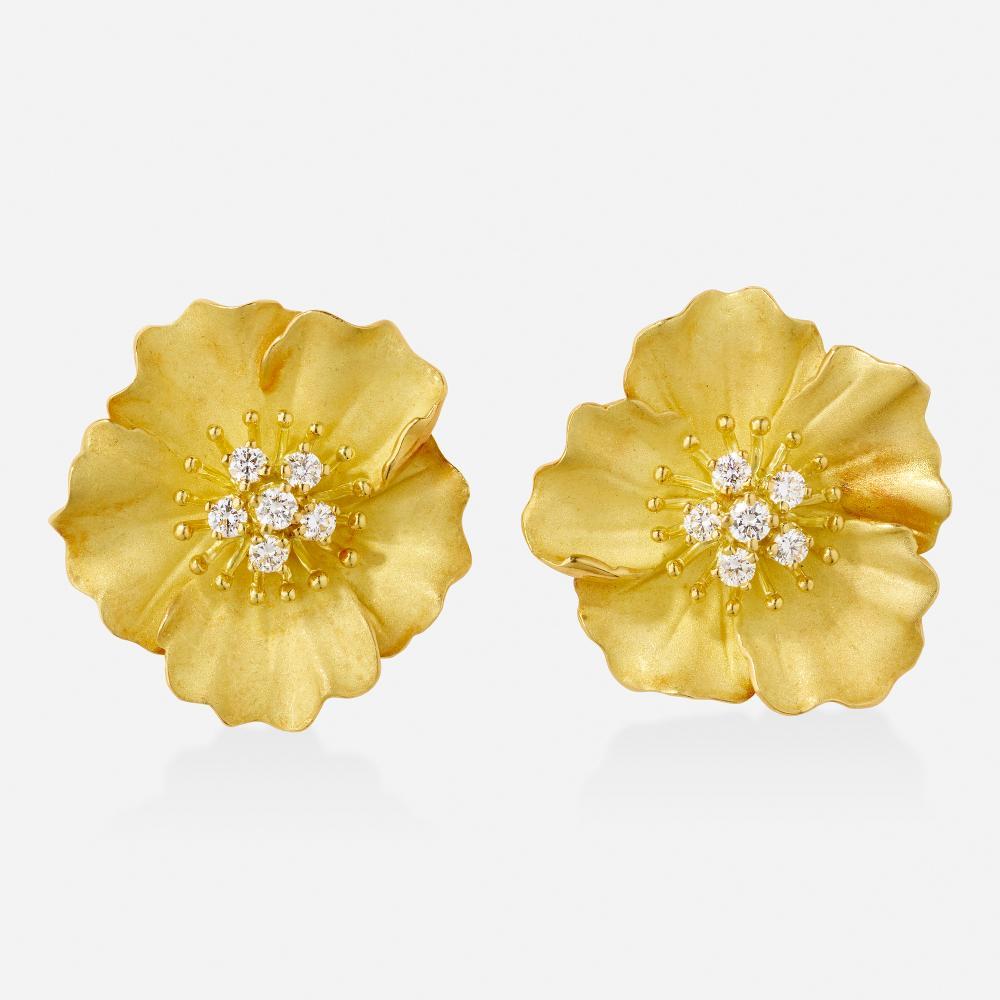 Tiffany & Co., 'Alpine rose' diamond and gold earrings