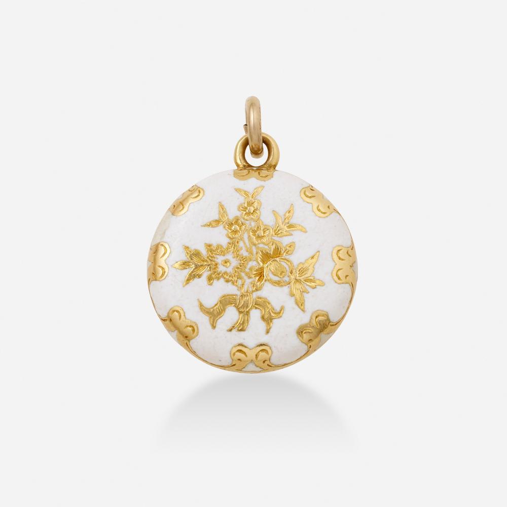 Antique, Enamel and gold locket