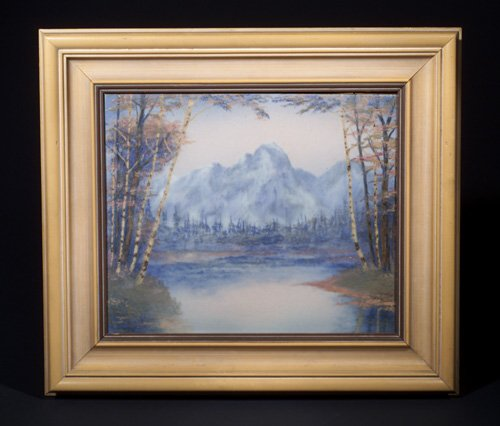 ROOKWOOD Scenic Vellum plaque by E. Timothy Hurley, 1946, depicting a tree-lined lake in a