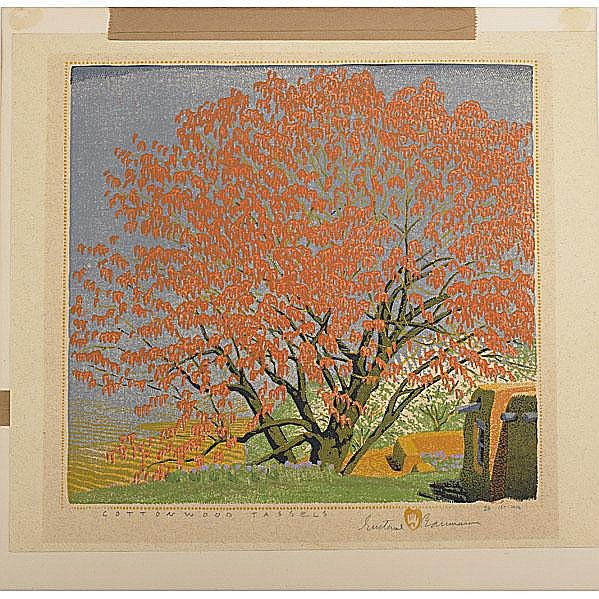 GUSTAVE BAUMANN; Color woodblock print,