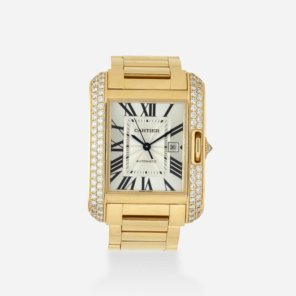 Cartier, 'Tank Anglaise' gold and diamond wristwatch, Ref. 3509