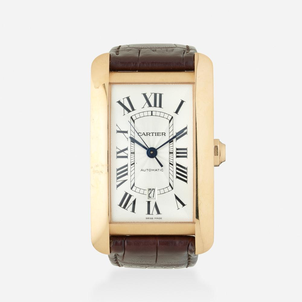 Cartier, 'Tank Americaine' gold and leather wristwatch, Ref. 2927