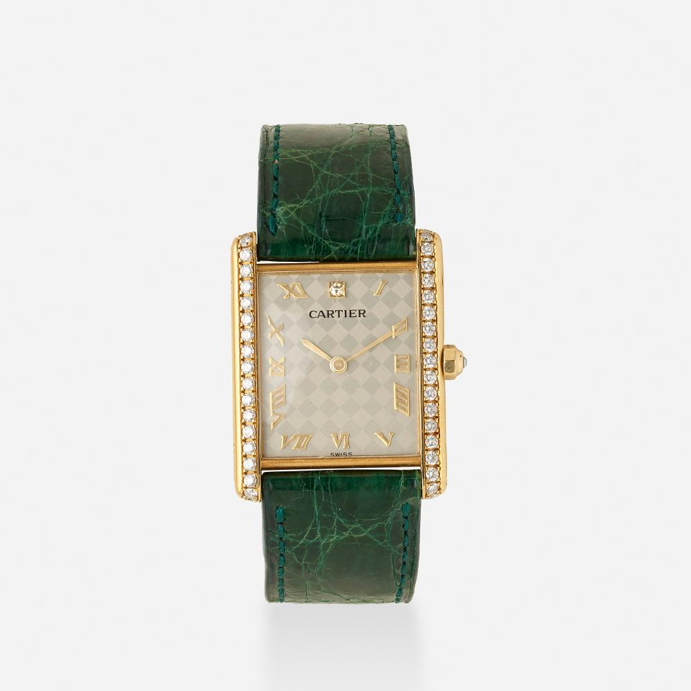 Cartier, 'Tank Solo' gold and diamond wristwatch, Ref. 16121
