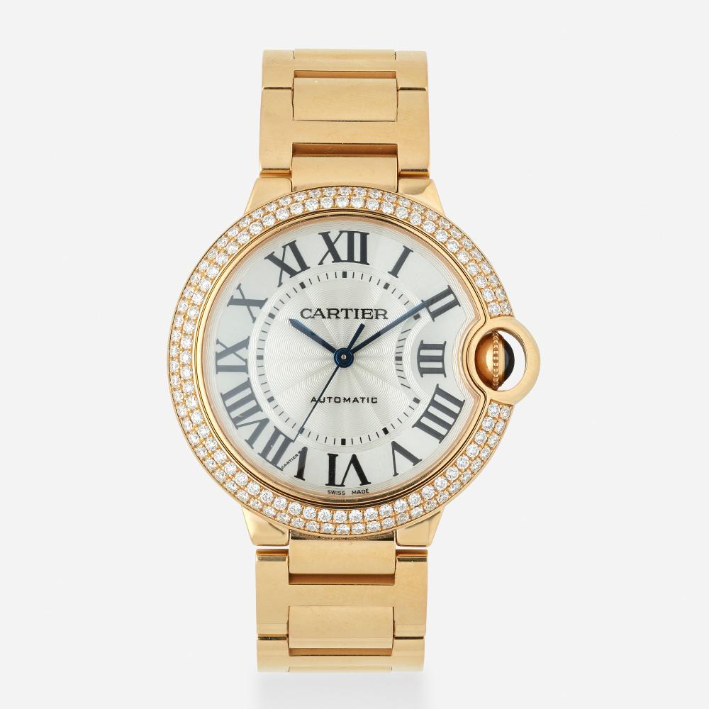Cartier, 'Ballon Bleu de Cartier' pink gold and diamond wristwatch, Ref. 3003