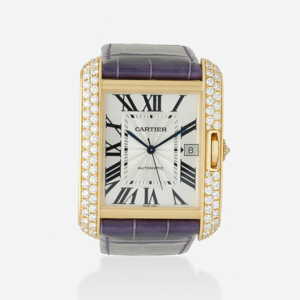 Cartier, 'Tank Anglaise' gold and diamond wristwatch, Ref. 3505