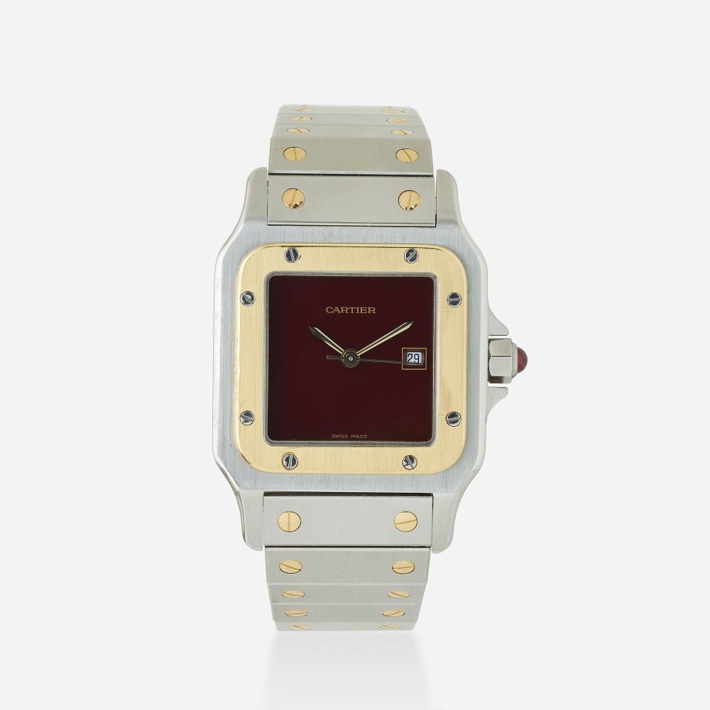 Cartier, 'Santos Galbee' steel and gold wristwatch, Ref. 2961