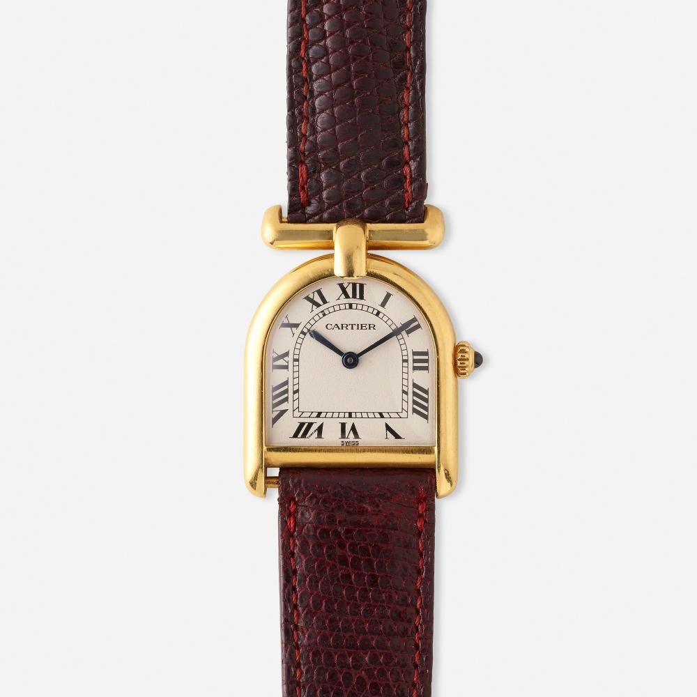 Cartier, 'Cloche Calandre' gold wristwatch. Ref. 81082