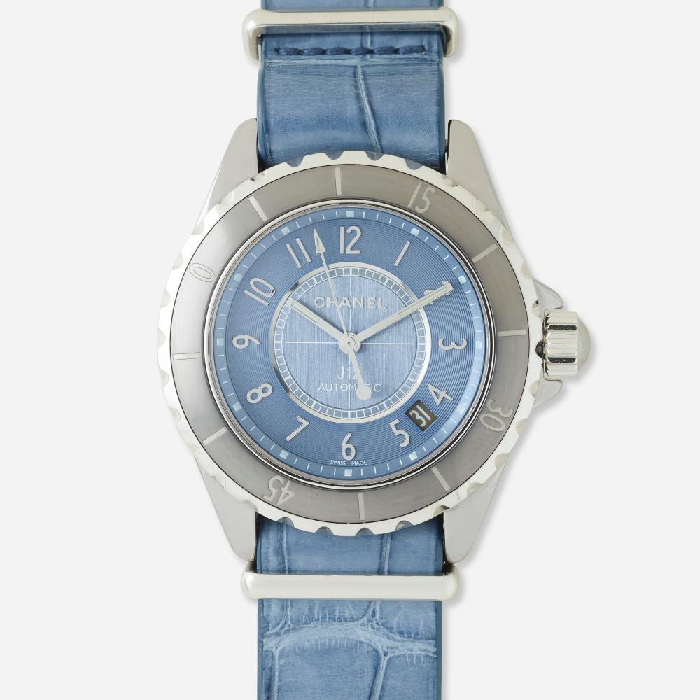 Chanel, 'J12' steel and leather wristwatch