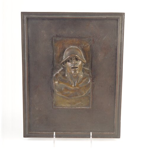 "Constantin Meunier (Belgian, 1831-1905) bronze bas relief plaque, ""The Puddler,"" 9 1/2"" x 12"", signed C. Meunier."