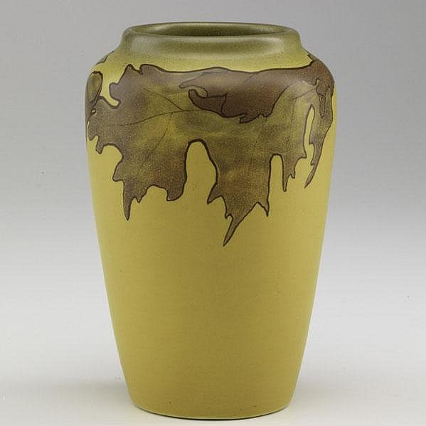HARRIET WILCOX; ROOKWOOD; Painted Mat vase with