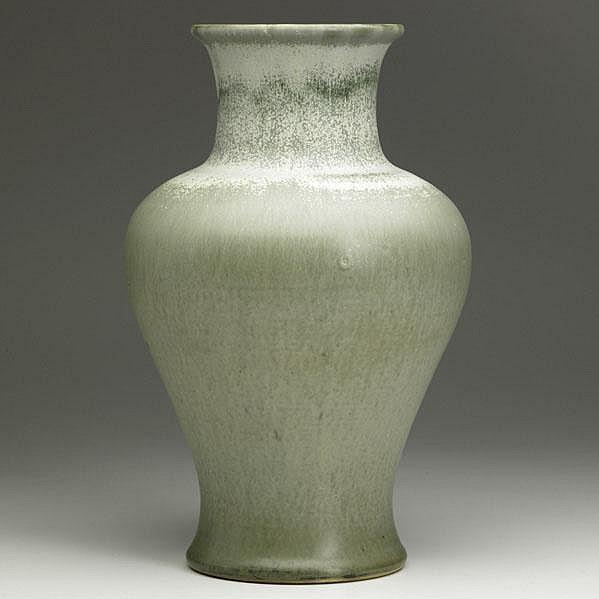 CHARLES F. BINNS; Large baluster stoneware vase in
