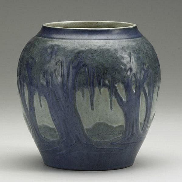 ANNA SIMPSON; NEWCOMB COLLEGE; Scenic vase with