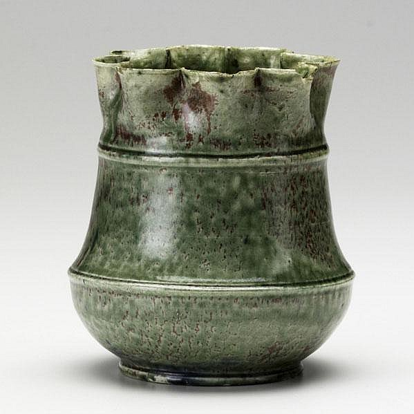 GEORGE OHR; Ruffle vase in mottled green and red