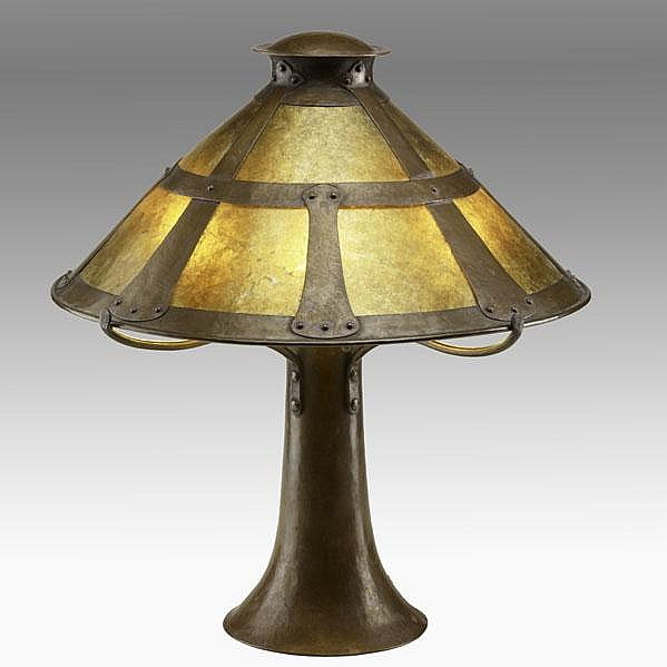 DIRK VAN ERP; Extremely rare table lamp, ca. 1911;