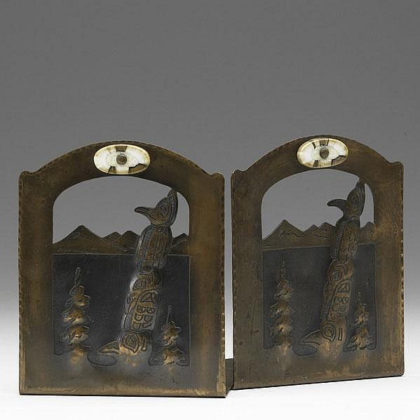 ALBERT BERRY; Pair of pierced bookends with