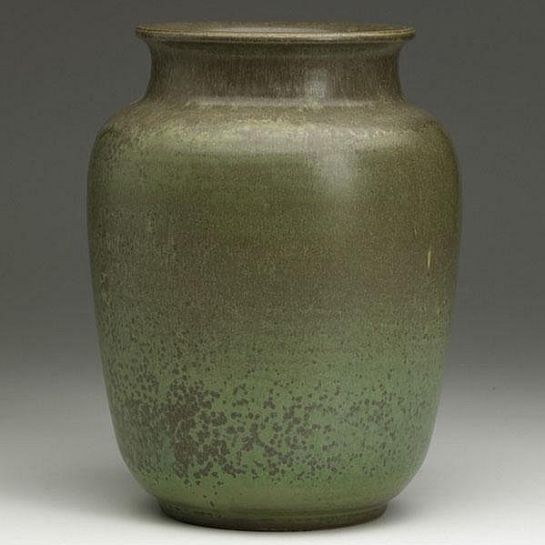 CHARLES F. BINNS; Large stoneware vase in green