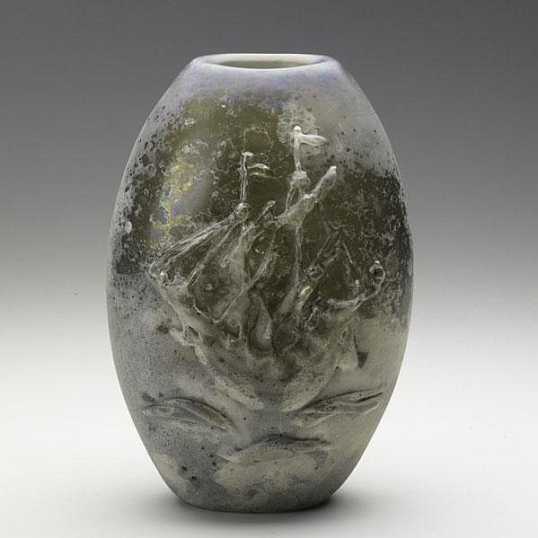 ALFREDO BARBINI; Large Scavo glass vase with