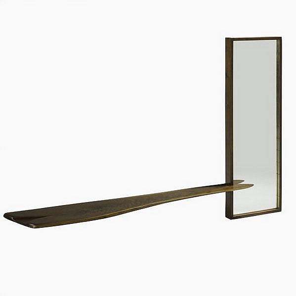 PHIL POWELL; Mirror and console, USA, ca. 1963;