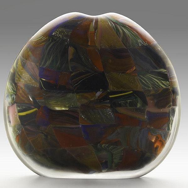 MICHELE BURATO; Hand blown glass vessel, ''Kilt,''