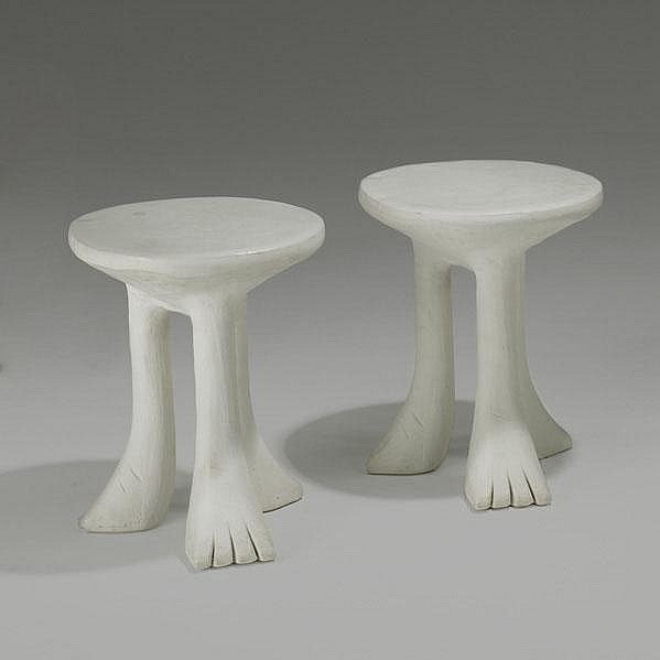 JOHN DICKINSON; Pair of African tables, USA,