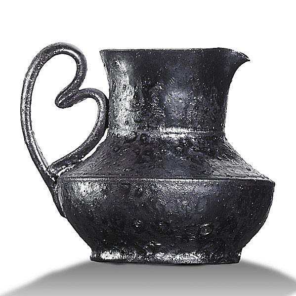 GEORGE OHR; Pitcher with heart handle, gunmetal