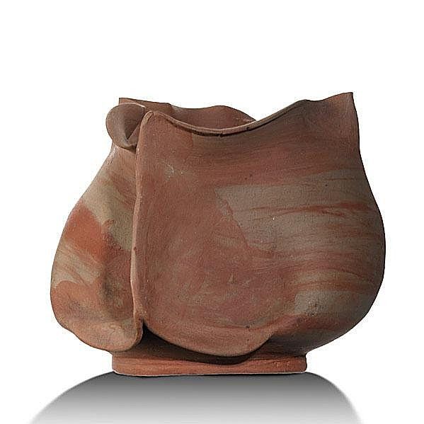GEORGE OHR; Bisque-fired marbleized clay pitcher;