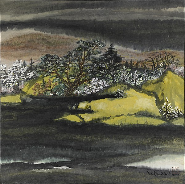 Minol Araki (Japanese, 1928-2010); Spring Landscape, 2002; Ink on paper mounted to board; Signed and dated; 34 5/8