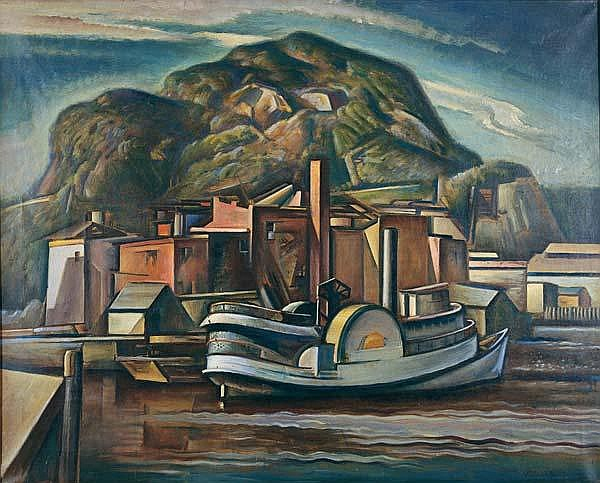 Charles Rosen (American, 1878-1950) Side Wheel in the Rondout, late 1930'2; Oil on canvas (framed); Signed; 32'' x 40''; Literature: Peterson, Brian H., Form Radiating Life: The Paintings of Charles Rosen, Doylestown: James A. Michener Art Museum and