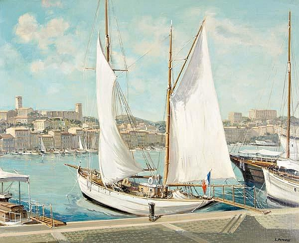 Lucien Potronat (French, 1889 - ) Le Port de Cannes Cote d'Azur; Oil on canvas (framed); Signed; 23 1/2'' x 28 3/4''; Provenance: Newman Galleries, Philadelphia (label on verso); Private Collection, Princeton