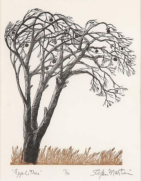 Stefan Martin (American, 1936-1994) Five works of art: Forest; Woodcut (framed); Signed, titled and numbered; 13'' x 19'' (sight); Animal Kingdom; Woodcut (framed); Signed, titled and numbered; 9 1/2'' x 8 1/4'' (sight); Apple Tree; Woodcut in colors