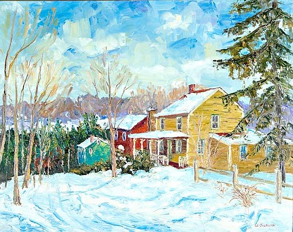 William Jachwak (American, b. 1954) Point Pleasant Winter; Oil on canvas (gold leaf frame); Signed; 20'' x 23 3/4''; Provenance: Private Collection, Pennsylvania