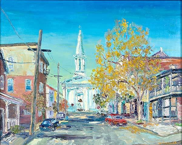 William Jachwak (American, b. 1954) Lambertville Fall; Oil on canvas (silver leaf frame); Signed; 16'' x 19 7/8''; Provenance: Private Collection, Pennsylvania